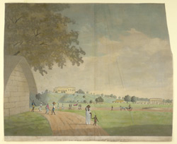 'View in the Fort at Monghyr'. People walking about and with different conveyances, with in the distance the hill-top house of the Fort Commander.